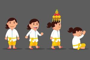 niedlicher Zeichentrickfilm-Zeichensatz des Bali-Mädchens vektor