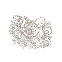 neptun slåss jätte bläckfisk ritning