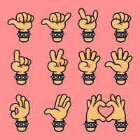 Rockmusikfans Cartoon Handgestensammlung vektor