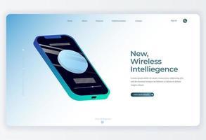 isometrisk smartphone-teknik målsidabakgrund vektor