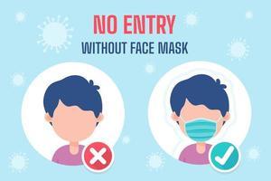 Cartoon-Leute, die Masken tragen, Richtlinien für die Nutzung von Diensten während des Ausbruchs des Covid-19-Virus vektor