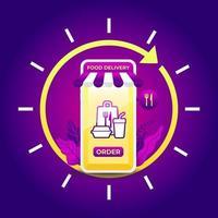 natt snabbmat leveransservice på mobil. 24-timmars leveransservice-app på mobiltelefon. vektor
