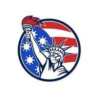 Freiheitsstatue mit Maske covid-19 Flagge Emblem vektor