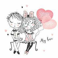 süßer Junge und Mädchen beim ersten Date vektor