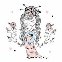 gravid söt flicka med blommor i håret vektor
