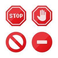Benachrichtigungen über Stoppschildsymbole, die nichts bewirken. auf weißem Hintergrund isolieren. vektor