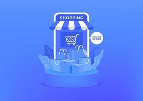Online-Shopping auf dem Handy. Einkaufstaschen und Kisten auf blauem Hintergrund. Online-Shop auf mobile Anwendung.