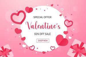 runder Rahmen mit rosa Herzform um ihn herum mit einer Sonderverkaufsaktion zum Valentinstag. vektor