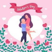 junge Paare umarmen sich am Valentinstag in Liebe, umgeben von herzförmigen Bäumen vektor