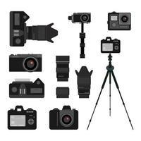 uppsättning av svarta kameratillbehörsikoner på vit bakgrund. fotograferingsutrustning platt vektorillustrationer. vektor