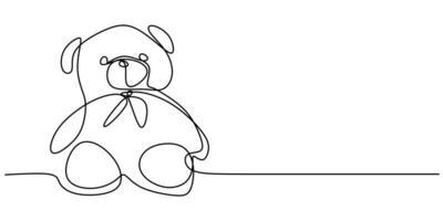 Bär Plüschtier eine durchgehende Linie gezeichnet lokalisiert auf einem weißen Hintergrund. vektor
