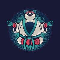 Panda mit Kung-Fu-Uniform. kundenspezifische Kleidungsschablone mit wildem Tier des Pandas auf blauem Hintergrund. Vektor-Illustrationsdesign für T-Shirt-Grafiken, Modedrucke und andere Verwendungen vektor