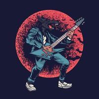 Wolf auf einem roten Mondhintergrund. ein Gitarrist mit Wolfskopf-Designmalerei für T-Shirt-Bekleidungsdruck vektor