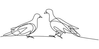 kontinuierliche einzeilige Zeichnung des Taubenvogels. Paar schöne Tauben Vogel Symbol der Liebe.