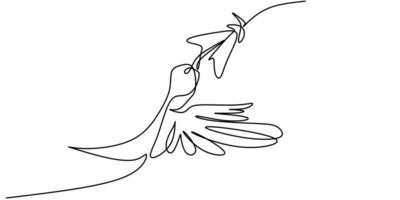 kontinuerlig en linje ritning av kolibri minimalism ritning. flygande fågel på blommor isolerad på en vit bakgrund.