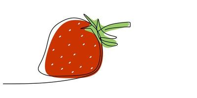 durchgehende Linie Erdbeere für Lebensmittelgeschäft. vektor