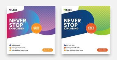 Travel Social Media Post-Vorlage mit einem coolen Topographie-Designelement und trendigen Verlaufsfarben mit Verkaufs- und Rabatthintergründen. vektor