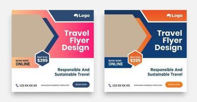 geometrische Reise Social Media Post Template Design vektor