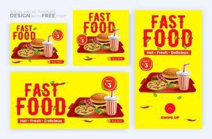 mat meny banner sociala medier post. redigerbara mallar för sociala medier för kampanjer på matmenyn. uppsättning berättelser för sociala medier och inläggsramar. vektor