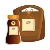 Branding Mockup Coffee Shop, Glasflasche mit Beutel Papier Kaffee