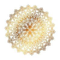 goldenes Mandala auf weißem Hintergrund vektor