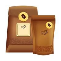 Branding-Mockup-Café, Reißverschlusspaket und Beutelpapier mit Kaffee vektor