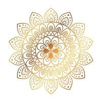 gyllene blommamandala på vit bakgrund, vintage lyxmandala vektor