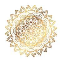 guldblomma mandala i vit bakgrund, vintage lyx mandala vektor