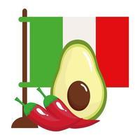 Mexikos flagga med avokado och chilipeppar i vit bakgrund vektor