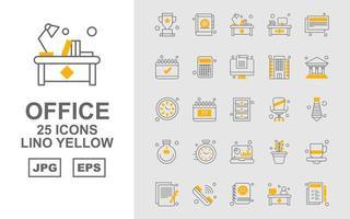 25 Premium Office Lino Gelb Icon Pack vektor