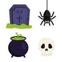 halloween grav spindel häxskål och skalle vektor design
