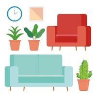 möbler och hem tillbehör ikoner set vektor