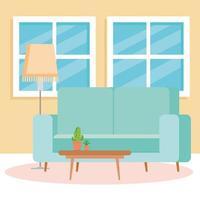 Innenraum des Wohnzimmers mit Couch, Fenstern und Dekoration