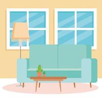 interiör i vardagsrummet, med soffa, fönster och dekor vektor