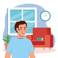 junger Mann in der Wohnzimmerszene