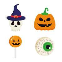 Halloween Kürbisschädel Süßigkeiten und Augen Vektor Design