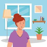 ung kvinna i hemmaplan inomhus vektor
