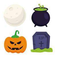 Halloween Kürbis Grab Hexenschale und Moonvector Design vektor