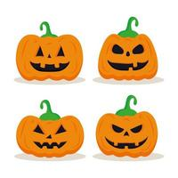 halloween pumpor karikatyrer uppsättning vektor design