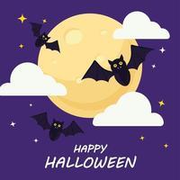 lycklig halloween med fladdermöss tecknad filmvektordesign