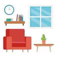 Innenraum des Wohnzimmers mit Couch, Tisch und Dekoration
