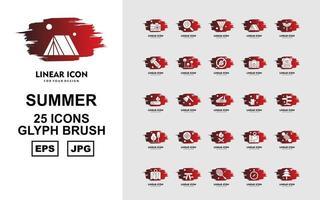 25 Premium Sommer Glyphe Pinsel Icon Pack vektor
