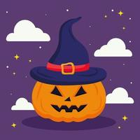 Halloween-Kürbis-Karikatur mit Wolkenvektorentwurf vektor