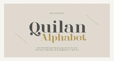 elegante Alphabetbuchstaben Schriftart und Nummer vektor