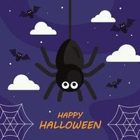 lycklig halloween med spindeltecknad vektordesign vektor
