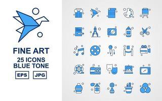25 Premium Fine Arts Blue Tone Icon Pack vektor