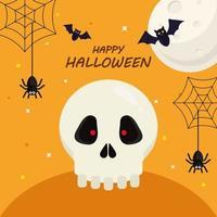 glückliches Halloween mit Schädelkarikaturvektorentwurf vektor