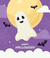 lycklig halloween med spöktecknad vektordesign vektor