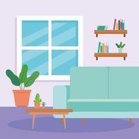 Innenraum des Wohnzimmers mit Couch, Tisch, Topfpflanze und Dekoration