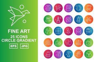 25 Premium Fine Arts Kreis Farbverlauf Icon Pack vektor